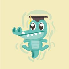 Cute cartoon crocodile.
