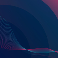 Dark background with purple and dark blue gradient. Modern vector backdrop with pink and blue blend and wave. Template cover, flyer, page or poster.