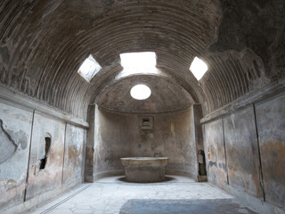 Remains of the public baths in Pompeii