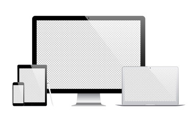mockup gadget and device: stylus, smartphone, tablet, laptop and computer monitor with blank screen isolated on white background. stock vector illustration eps10