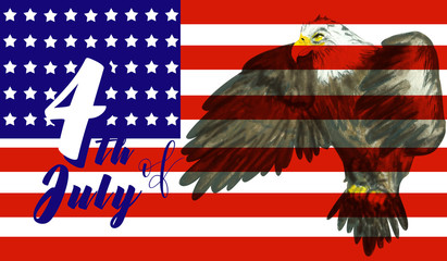 4th of July celebration background with flying bald eagle