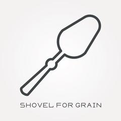 Line icon shovel for grain