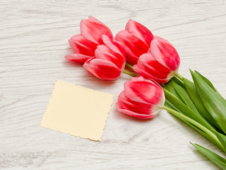 Clean card, pink tulips on a light wooden background. top view, space for text