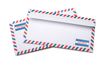 Two blank envelopes  with soft shadows, on white background background