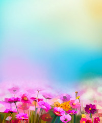 Abstract colorful oil painting red, pink cosmos flower, daisy, wildflower in field. Blurry  wildflowers at meadow with soft blue sky. Spring, summer season nature background.