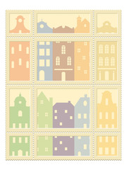 Postage Stamps Set with translucent old european cityscape Vector template isolated on white background