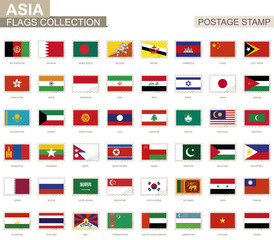 Postage stamp with Asia flags. Set of 62 Asian flag.