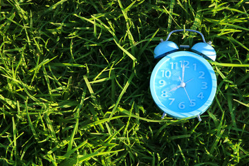 Top view of retro alarm clock over green grass outdoors in the park