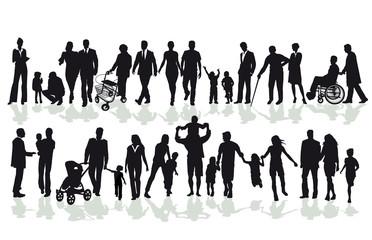 Gruppen von Familien und Angehörige Silhouetten