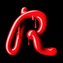 Glossy red letter R uppercase. 3D rendering