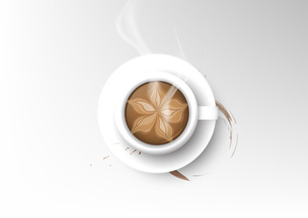 Vector isolated cup of coffee collection, mocha
