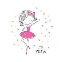 Little ballerina. Fashion illustration for clothing