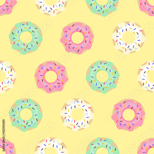 Donuts Seamless Pattern On Yellow Background Cute Sweet Food