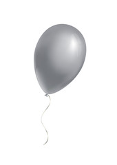 Silver balloon on white background. Vector illustration.