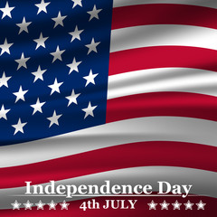 Independence Day background with USA flag. Vector illustration