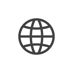 Globe icon in black on a white background. Vector illustration