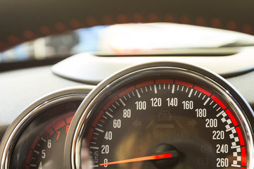 Close up shot of a speedometer in the car