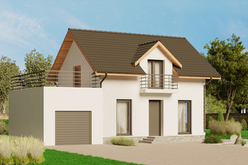 3d render of modern house in the daylight 1