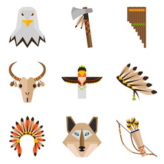 Indians culture color flat icons set for web and mobile design