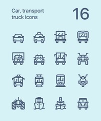 Outline Car, transport, vehicle, truck, train vector flat line icons for web and mobile applications