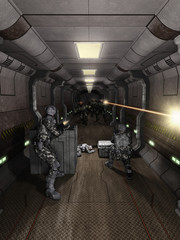 Space Station Corridor Battle - science fiction illustration
