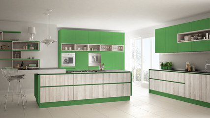 Modern white kitchen with wooden and green details, minimalistic interior design