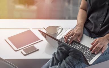 Digital lifestyle blog writer or business freelancer person using smart device working on internet communication technology