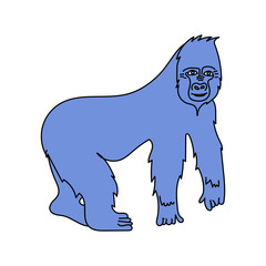 A big gorilla. Vector isolated image. Cartoon style. For print, icons, and other web resources.