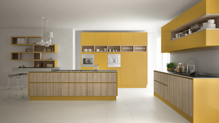 Modern white kitchen with wooden and yellow details, minimalistic interior design