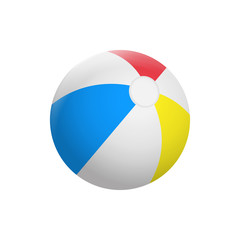 Realistic Beach ball isolated on white background. Vector illustration.