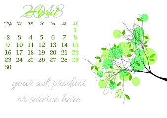 Calendar sheet for 2018 year with marked weekend days on white background. April. Abstract spring tree branch with young leaves. Week starts with Monday. Vector illustration