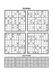 Four sudoku puzzles of comfortable (easy, yet not very easy) level, on A4 or Letter sized page with margins, suitable for large print books, answers included