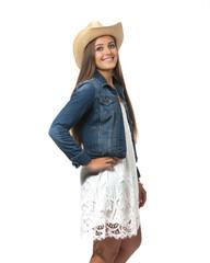Teenage girl with cowboy hat and denim jacket