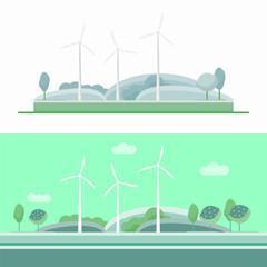 Wind turbine set blue