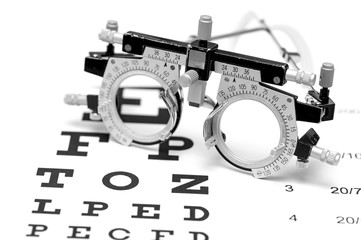 trial lens on an eye chart white background