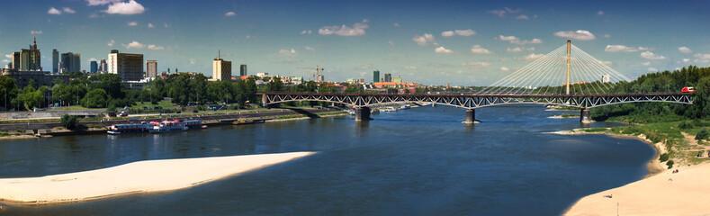 Panorama of Warsaw with Srednicowy bridge