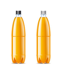 Blank plastic bottles 1,5L with orange juice