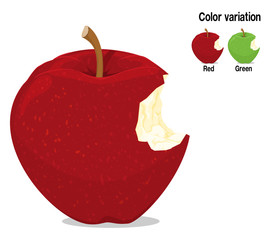 A bitten apple on transparent background