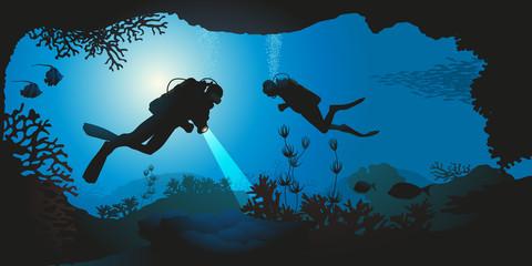 plongée - plongée sous-marine - plongeur - mer - corail - paysage sous-marin