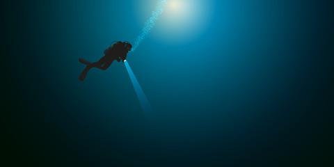 plongée - plongée sous-marine - plongeur - mer -seul - océan - sport