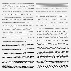 Vector set of line grunge hand drawn textures.