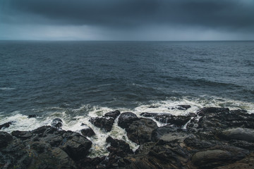 Wall Mural - Overcast day at a rocky coast.