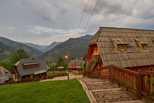 Mokra Gora, Serbia - June 02, 2017: Drvengrad village in Western Serbia