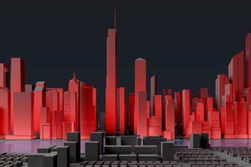 Simplified city with red illumination