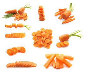 Set of carrot on white background
