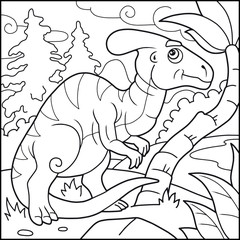Cartoon funny parasaurolophus, coloring book