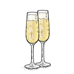 Glasses of champagne. Vector illustration.
