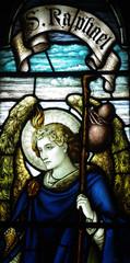 Fototapete - Archangel Raphael in stained glass