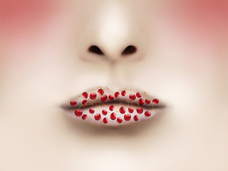 Foto op Textielframe Surrealisme Lips and Cherries