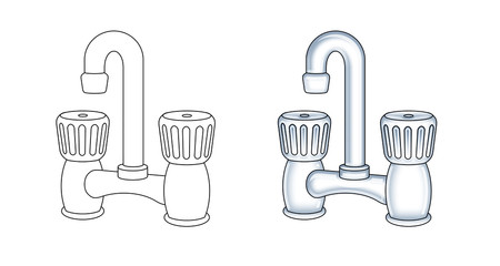 two versions of a faucet illustration